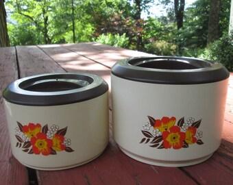 Vintage Plastic Canister Set - 1960s Orange and Brown Floral