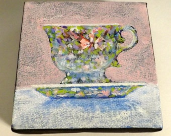 PRECIOUS PINK TEACUP 6 x 6  signed Original Acrylic painting  by Canadian Ellen Haasen