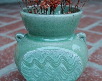 Celadon Green Stoneware Vase with Porcelain Hakeme Slip Decoration OOAK