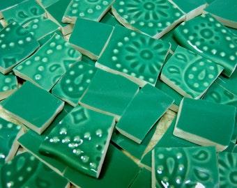 Mosaic Tiles - DEEP TeAL & EMBoSSeD - 95 China Mosaic Tiles