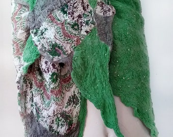 Lightweight Nuno Felted  Stole / Shawl - Green and Grey - Spring and Summer Shawl