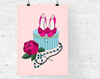 Pink Still Life Fashion Illustration Art Print