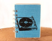 Ocean Blue Record Player - One-of-a-Kind Screen-Printed Pocket Journal