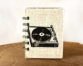 Oatmeal Record Player - One-of-a-Kind Screen-Printed Pocket Journal