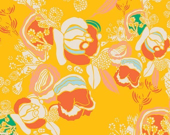 Florascape Marigold - Meadow - Art Gallery Fabrics - Leah Duncan - MW-80025 - Roses Yellow Bright Orange Flowers