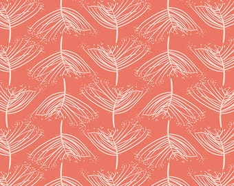 Laced Sunset - Forest Floor - Art Gallery Fabrics - Bonnie Christine - FOR-47705 - Coral Trees Leaves Forest - Cotton Quilting Fabric