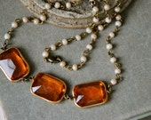 Art deco topaz necklace//vintage style layering necklace//statement necklace. Tiedupmemories