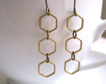 Hexagon charm earrings - dangle - row - geometric brass - nickel free - SALE