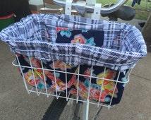 Rose Garden Bike Basket Liner and Purse in One