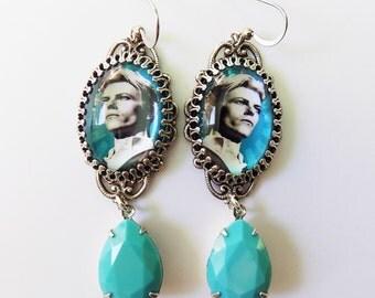 Bowie Earrings- David Bowie Earrings - Ziggy Stardust - Glam Rock Earrings - Pop Art -  Turquoise Earrings - Rock Star Earrings - gift