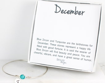 Personalized December Birthstone Swarovski Silver Bracelet, Blue Zircon Sterling Silver Bracelet, December Birthday, Personalized Bracelet