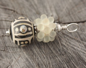 Rustic Elegance Ivory Etched Bubble Pendant