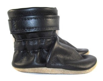 Soft Sole Black Leather Baby Boots Shoes 12 to 18 Month