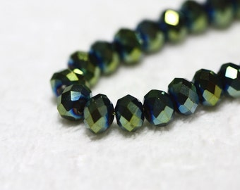 25 pcs. 6x4mm. Metallic Green Faceted Rondelle Chinese Glass Crystal