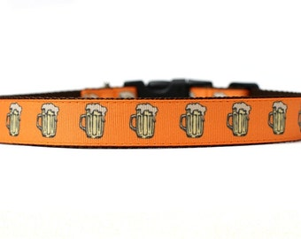 1 Inch Wide Dog Collar with Adjustable Buckle or Martingale in Beer an Exclusive Design