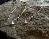 Rose Quartz Earring, Sterling Silver V Hoop Earrings, Open Hoop, Rose Quartz Jewelry