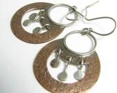 Small Nefertitti Earrings, Copper Earrings, Sterling Silver Earrings, Artisan Mixed Metal Earrings, Exotic Earrings, Metalsmith Earrings