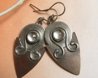 Exotic Mixed Metal Earrings, Copper Earrings, Quartz Crystal Cabochon Earrings Artisan Earrings, Large Earrings, Big Statement Earrings