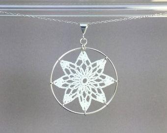 Tavita doily necklace, white silk thread, sterling silver