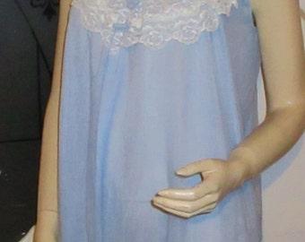 Vintage Blue Nylon Nightie Short nightgown Frilly Nightdress Ruffle nightie