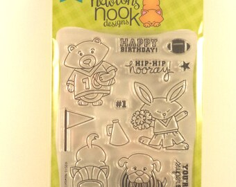 Newton's Nook Designs, Clear Stamp Set, Touchdown Tails, Animal Stamps, Sports-Themed Stamps, Football Stamp, Cheerleader Stamp, Flag Stamp