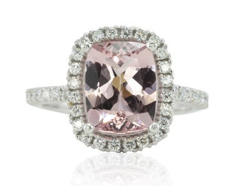 Morganite Engagement Ring - 8x10mm Cushion cut Pink Morganite Ring with Diamond Halo in 14k Gold, 18k Gold, or Platinum - LS2449