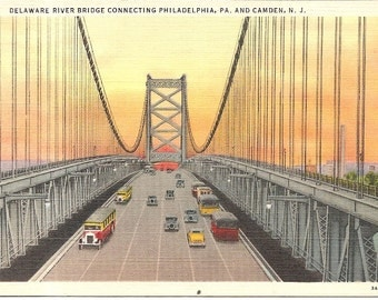 Delaware River Bridge PA & NJ, Camden, NJ Vintage 20's - 40's Linen Postcard