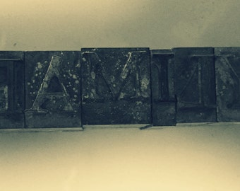 FAMILY Letterpress Alphabet Typeface Print Blocks for Scrapbooking family photos and moments