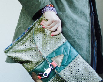 NEW XL Envelope Clutch//// Laser Cut Green Leather Clutch with Silver Hardware