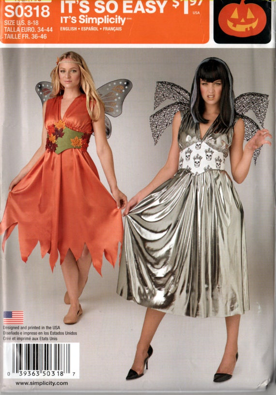 So Easy Sexy Fairy Dress and Belt Costume Pattern Simplicity 318 Size 8-18 Bust 31.5-40 inch UNCUT