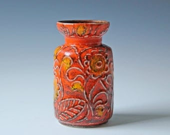 Modern orange glazed West Germany ceramic vase