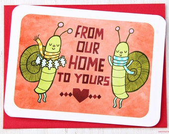 From Our Home to Yours Snails - Holiday Card - Christmas Notecard