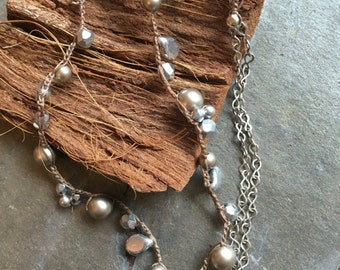 Crocheted Beaded Long Necklace with Antique Silver Chain