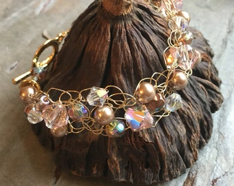 Wire Crochet Bracelet - Copper and Bronze