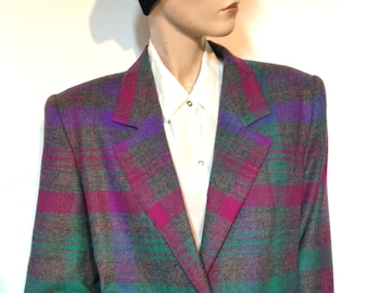 80s Jacket Plaid Wool Size 12 Made in the USA Plaid Jacket