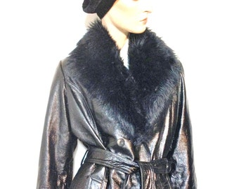 Patent Leather Trench Coat Wilsons Maxima Size L12 Women's