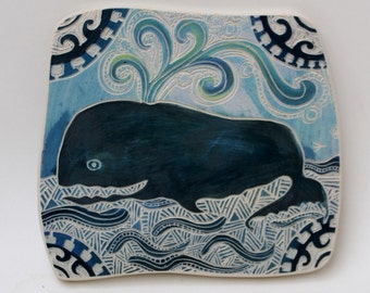 indigo whale hand carved ceramic art tile
