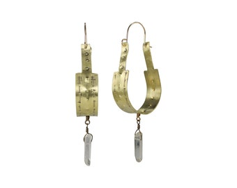Hand stamped & oxidized brass hoops with quartz crystal dangle