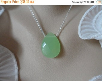 ON-SALE SALE - Light Green Jade Quartz Necklace and Sterling Silver - Mothers Day Gifts, Birthday Gifts and Bridesmaids Gifts, Flower Girls
