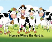 """6"""" x 12"""" Fabric Art Panel - """"Home is where the Herd is"""""""