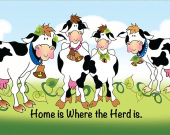 "6"" x 12"" Fabric Art Panel - ""Home is where the Herd is"""