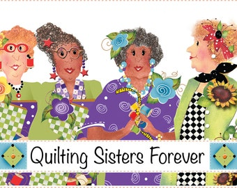 "6"" x 12"" Fabric Art Panel -Quilting Sisters Forever"