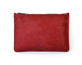 Coralie - Handmade Red Hair On Hide Leather Clutch Bag Zip Pouch Purse