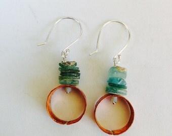 Ancient Roman Glass Copper Hoops Earrings