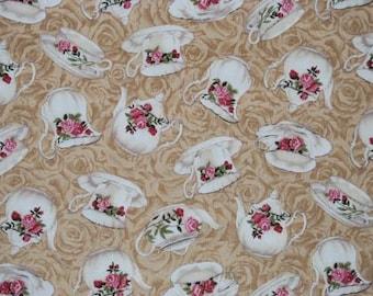 "Fabric china tea cups and tea pots - Faye Burgos - ""tea time"" - on beige"