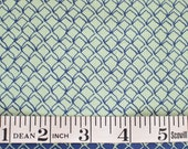 Fish Net blue on green FABRIC Kristen Berger Fishline Fabric for Maywood Studio MAS8858-G