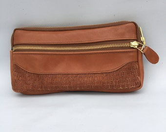 large wallet clutch in wood bark embossed cow hide