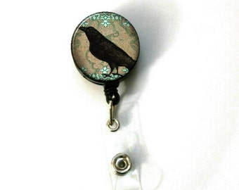 Victorian Damask Crow Raven Retractable ID Name Holder Badge Reel Clip On Nurse