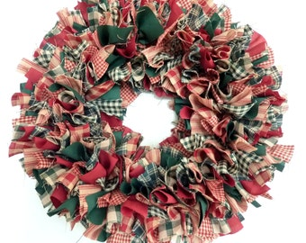 Small Christmas Rag Wreath Red Green Homespun Fabric Winter 14""
