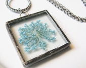 real flower necklace - flower jewelry - blue necklace - flower necklace - small flower necklace - flower pendant - dried flower necklace